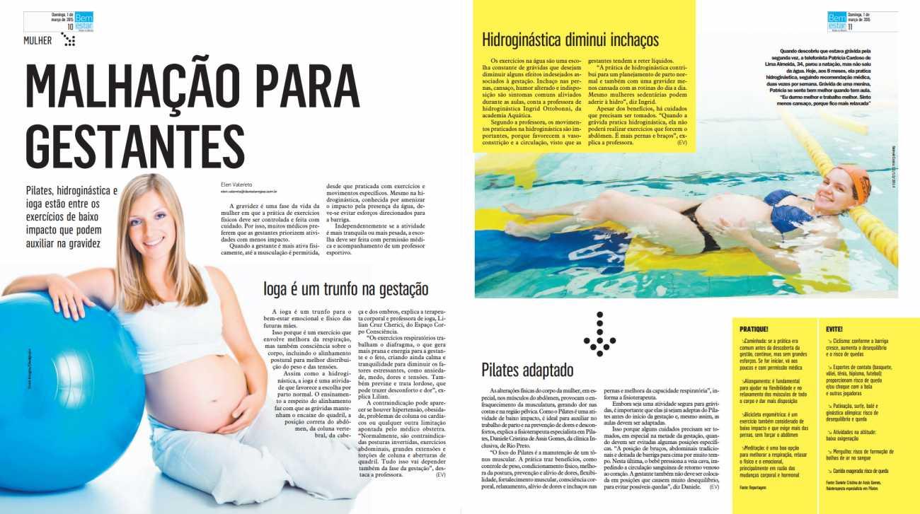 Malhação para gestantes Diário da Região Revista Bem Estar Pag. 10 e 11 - 01/03/2015